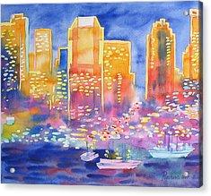 New York Great City Silhouettes.2007 Acrylic Print by Natalia Piacheva