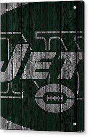 New York Jets Wood Fence Acrylic Print