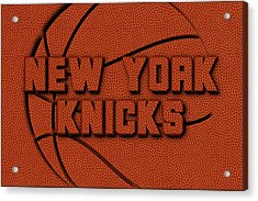 New York Knicks Leather Art Acrylic Print by Joe Hamilton