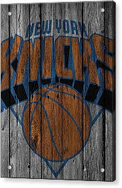 New York Knicks Wood Fence Acrylic Print by Joe Hamilton