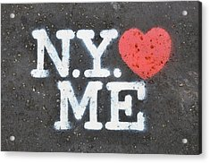 New York Loves Me Stencil Acrylic Print