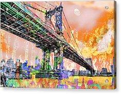New York City Manhattan Bridge Gold Acrylic Print by Tony Rubino