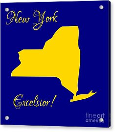 New York Map In State Colors Blue And Gold With State Motto Excelsior Acrylic Print by Rose Santuci-Sofranko