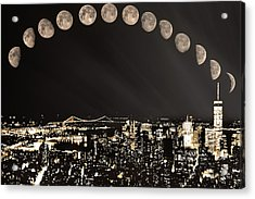 New York Minute Moons Acrylic Print by Rick Grossman