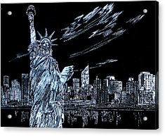 Acrylic Print featuring the drawing New York New York New York  by Saad Hasnain