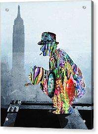 New York Photographer On Unfinished Skyscraper And Skyline Blue Acrylic Print by Tony Rubino