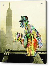 New York Photographer On Unfinished Skyscraper And Skyline Gold Acrylic Print by Tony Rubino