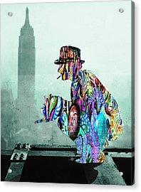 New York Photographer On Unfinished Skyscraper And Skyline Green Acrylic Print by Tony Rubino