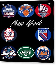 New York Professional Sport Teams Collage  Acrylic Print by Movie Poster Prints