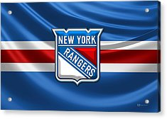New York Rangers - 3d Badge Over Flag Acrylic Print
