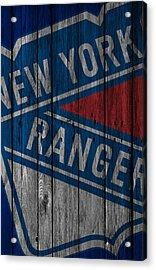 New York Rangers Wood Fence Acrylic Print by Joe Hamilton
