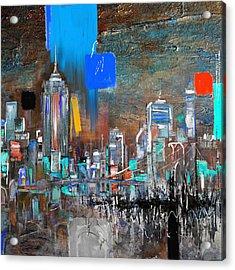 New York Skyline 198 3 Acrylic Print by Mawra Tahreem