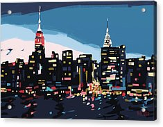 New York Skyline At Dusk In Navy Blue Teal And Pink Acrylic Print