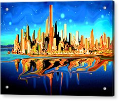 New York Skyline In Blue Orange - Modern Fantasy Art Acrylic Print