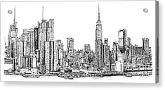 New York Skyline In Ink Acrylic Print by Adendorff Design