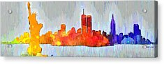 New York Skyline Old Shapes 3 - Da Acrylic Print by Leonardo Digenio