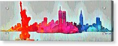 New York Skyline Old Shapes - Da Acrylic Print by Leonardo Digenio