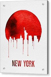 New York Skyline Red Acrylic Print by Naxart Studio