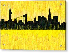 New York Skyline Silhouette Orange - Pa Acrylic Print by Leonardo Digenio