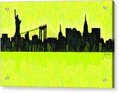 New York Skyline Silhouette Yellow-green - Da Acrylic Print