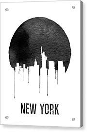 New York Skyline White Acrylic Print by Naxart Studio