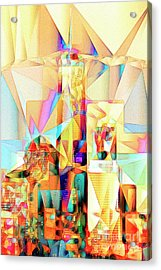 Acrylic Print featuring the photograph New York Skyline World Trade Center In Abstract Cubism 20170326 by Wingsdomain Art and Photography
