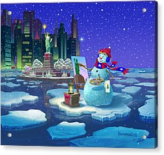 Acrylic Print featuring the painting New York Snowman by Michael Humphries