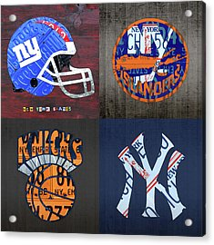 New York Sports Team License Plate Art Collage Giants Islanders Knicks Yankees Acrylic Print by Design Turnpike