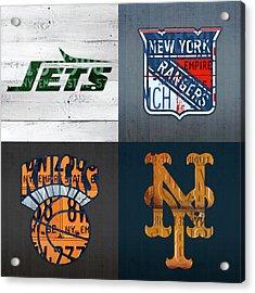 New York Sports Team License Plate Art Collage Jets Rangers Knicks Mets V2 Acrylic Print