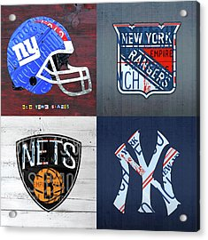 New York Sports Team License Plate Art Giants Rangers Nets Yankees V4 Acrylic Print by Design Turnpike