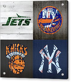 New York Sports Team Logo License Plate Art Jets Islanders Knicks Yankees V5 Acrylic Print by Design Turnpike