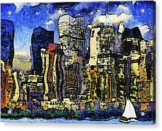 New York Stary Night Expressionism Acrylic Print by Georgiana Romanovna