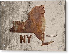 New York State Map Industrial Rusted Metal On Cement Wall With Founding Date Series 001 Acrylic Print by Design Turnpike