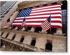 New York Stock Exchange American Flag Acrylic Print by Amy Cicconi