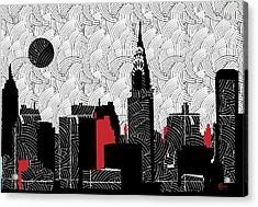 New York City Skyline Swing  Acrylic Print by Cecely Bloom