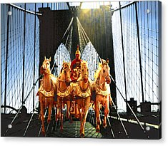 New York Brooklyn Bridge Fantasy Collage Acrylic Print