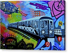 New York Train Acrylic Print by Joan Reese