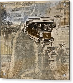 New York Trolley Vintage Photo Collage Acrylic Print by Karla Beatty