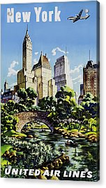 New York United Air Lines Acrylic Print by Mark Rogan
