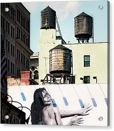 Acrylic Print featuring the photograph New York Water Towers 15 by Gary Heller