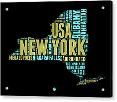 New York Word Cloud Map 1 Acrylic Print by Naxart Studio