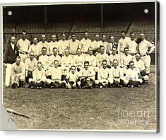 New York Yankees Baseball Team Posed Acrylic Print by Pg Reproductions