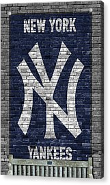 New York Yankees Brick Wall Acrylic Print by Joe Hamilton