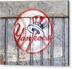 New York Yankees Top Hat Rustic 2 Acrylic Print