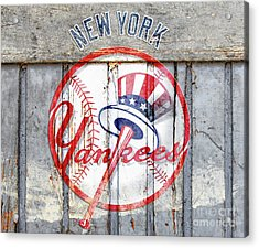 New York Yankees Top Hat Rustic Acrylic Print