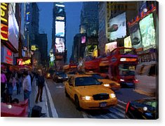 Acrylic Print featuring the painting New York Yellow Cab by David Dehner