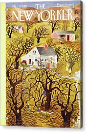New Yorker Magazine Cover Of A Farm In Spring Acrylic Print
