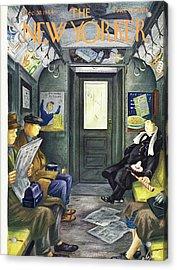 New Yorker Magazine Cover Of A Man Sleeping Acrylic Print by Constantin Alajalov