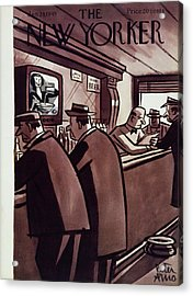 New Yorker Magazine Cover Of Men In A Bar Acrylic Print by Peter Arno