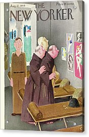 New Yorker Magazine Cover Of Monks Staring Acrylic Print by William Cotton
